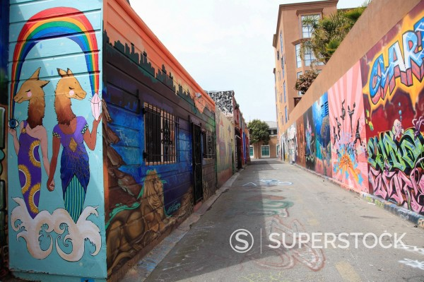 Stock Photo: 1890-134088 Murals, Clarion Alley, Mission District, Mission, San Francisco, California, United States of America, North America