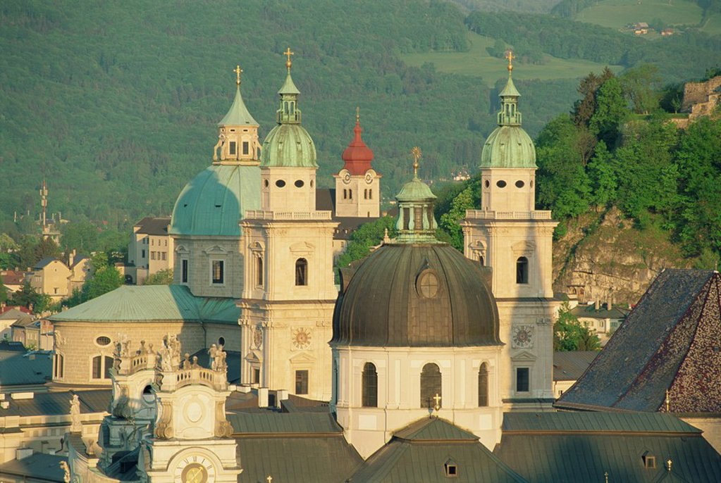 Stock Photo: 1890-13424 Kollegienkirche and Cathedral domes, Salzburg, Austria, Europe