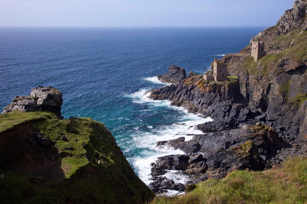 Botallack Crowns Tin Mine, near St. Just, Cornwall, England, United Kingdom, Europe : Stock Photo