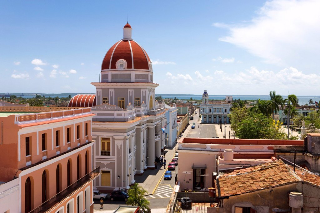 Stock Photo: 1890-134620 The colourful dome of the Ayuntamiento City Hall and Parque Marti, Cienfuegos, UNESCO World Heritage Site, Cienfuegos Province, Cuba, West Indies, Central America