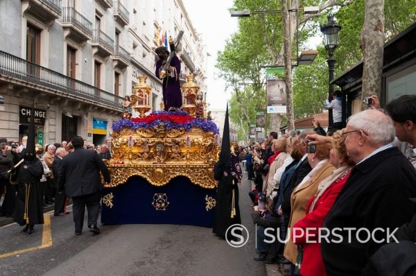 Holy Week Procession, La Rambla, Barcelona, Catalonia, Spain, Europe : Stock Photo