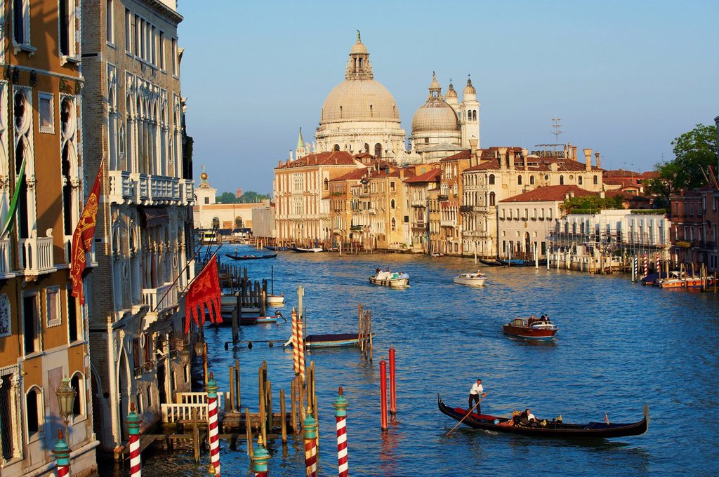 The Church of Santa Maria della Salute and the Grand Canal, viewed from the Academia Bridge, Venice, UNESCO World Heritage Site, Veneto, Italy, Europe : Stock Photo