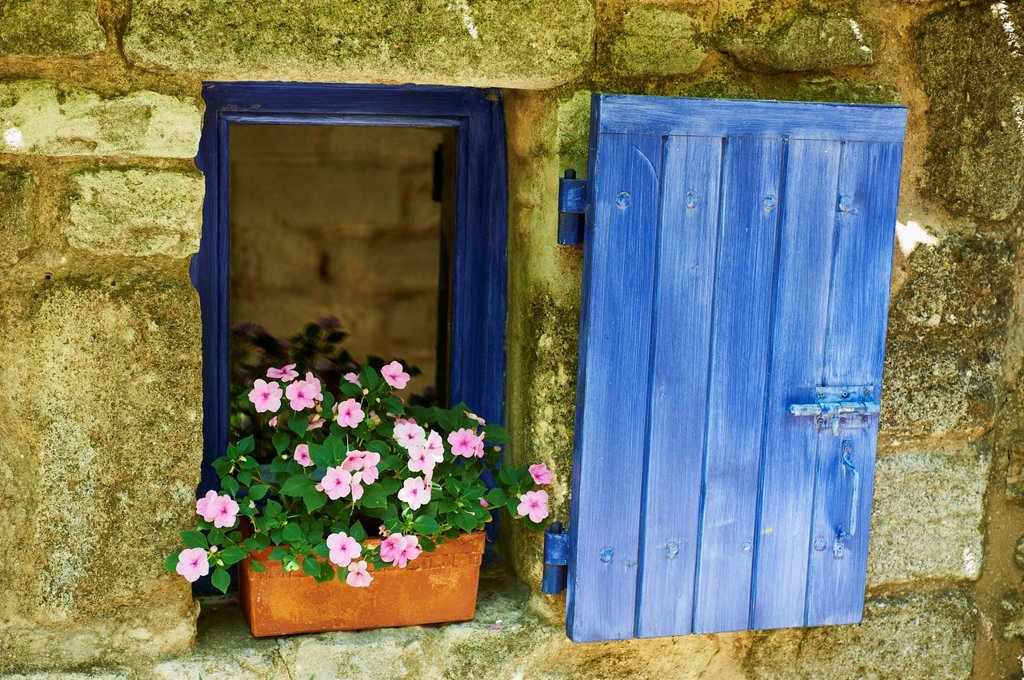 Stock Photo: 1890-134936 Detail of windowbox and shutters, Saignon village, Vaucluse, Provence, France, Europe