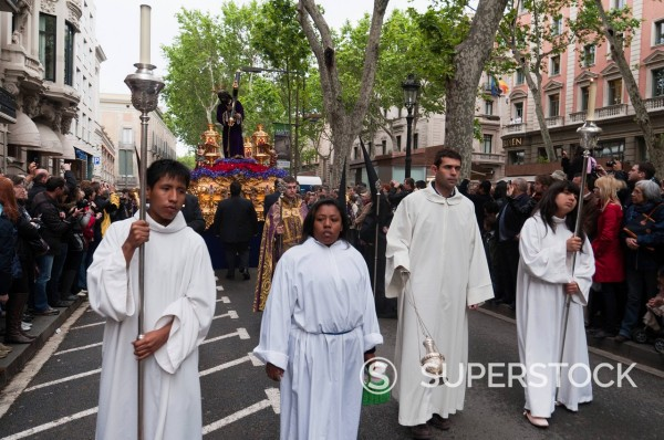 Stock Photo: 1890-135084 Holy Week Procession, La Rambla, Barcelona, Catalonia, Spain, Europe