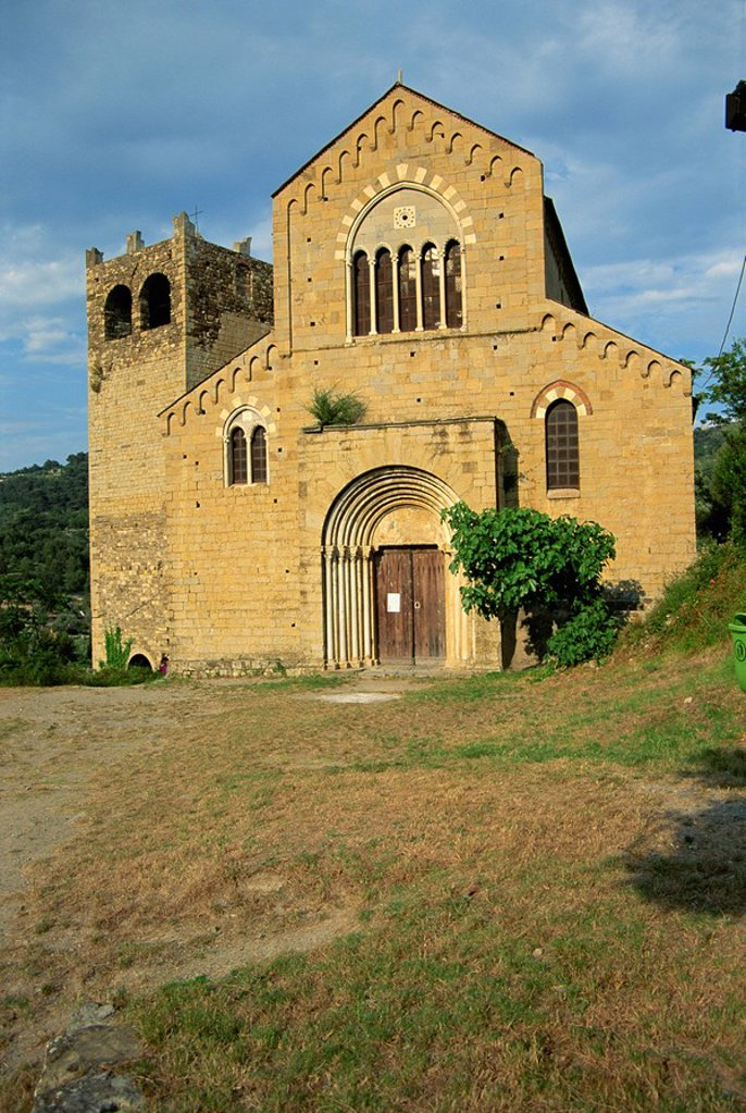 Stock Photo: 1890-13510 Important 13th century Romanesque church of St. Giacomo and St. Filippo, Andora, Riviera del Ponente, Liguria, Italy, Europe