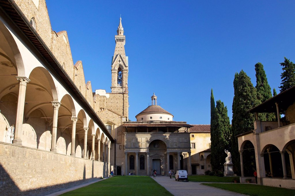Stock Photo: 1890-135214 Pazzi Chapel and the cloisters, Basilica of Santa Croce, Florence, UNESCO World Heritage Site, Tuscany, Italy, Europe
