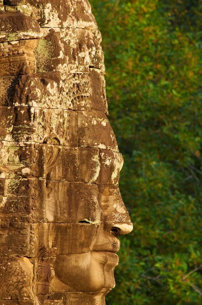 Close_up of sculpture, Bayon temple, dating from the 13th century, Angkor, UNESCO World Heritage Site, Siem Reap, Cambodia, Indochina, Southeast Asia, Asia : Stock Photo