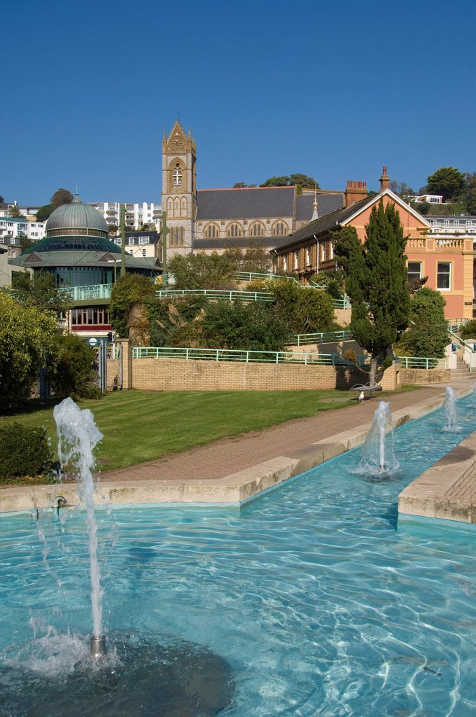 The Water Garden and St. Johns Church, Torquay, Devon, England, United Kingdom, Europe : Stock Photo