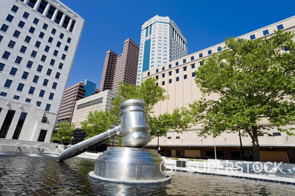 Stock Photo: 1890-135426 Gavel sculpture outside the Ohio Judicial Center, Columbus, Ohio, United States of America, North America