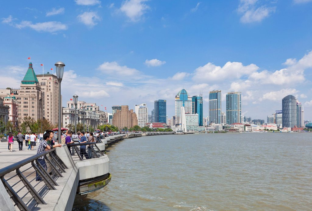 Stock Photo: 1890-136205 The Bund Colonial Buildings and skyline, Huangpu River, Shanghai, China, Asia