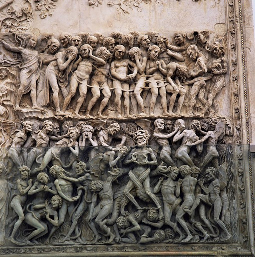 Stock Photo: 1890-13621 Bas reliefs of episodes from the Testament by Martini and pupils dating from the 14th century, Orvieto Cathedral, Orvieto, Umbria, Italy, Europe