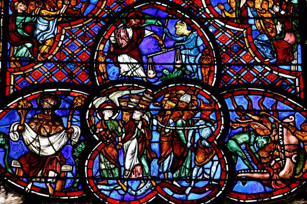 Stock Photo: 1890-136523 Stained glass of the Last Judgment in Bourges cathedral, Bourges, Cher, France, Europe