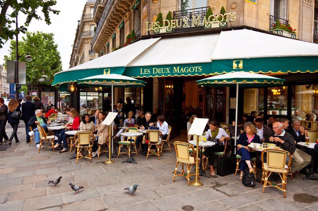 Stock Photo: 1890-137270 Les Deux Magots Cafe, Saint_Germain_des_Pres, Left Bank, Paris, France, Europe