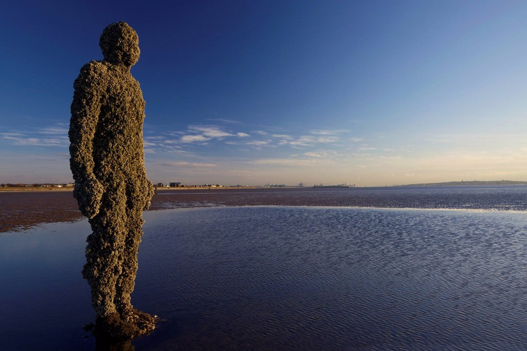 Stock Photo: 1890-137285 Antony Gormley sculpture, Another Place, Crosby Beach, November, Merseyside, England, United Kingdom, Europe