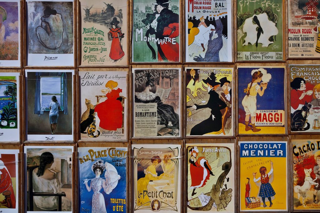 Stock Photo: 1890-137411 Fin_de_Siecle posters by Toulouse_Lautrec and other artists, Place du Tertre, Montmartre, Paris, France, Europe