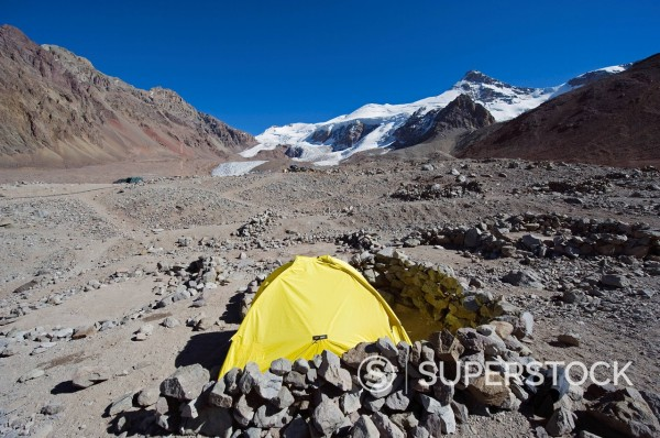 Stock Photo: 1890-137518 Tent at Plaza de Mulas base camp, Aconcagua 6962m, highest peak in the western hemisphere, Aconcagua Provincial Park, Andes mountains, Argentina, South America