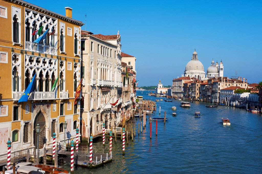 Stock Photo: 1890-137613 The Grand Canal and the Church of Santa Maria della Salute in the distance, viewed from the Academia Bridge, Venice, UNESCO World Heritage Site, Veneto, Italy, Europe