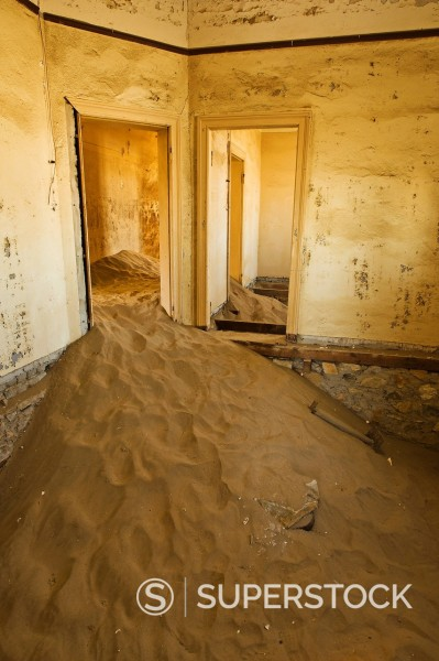 Stock Photo: 1890-138137 Sand filled hospital room at Kohlmanshop, a former diamond mining town in southern Namibia, Africa