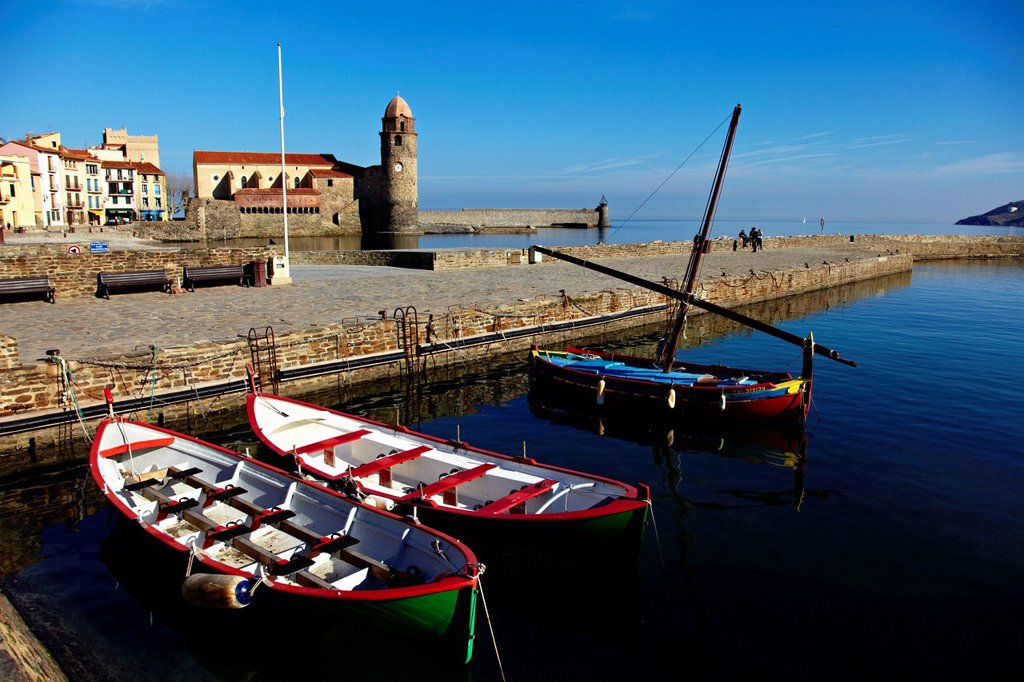Collioure, Languedoc Roussillon, Cote Vermeille, France, Mediterranean, Europe : Stock Photo