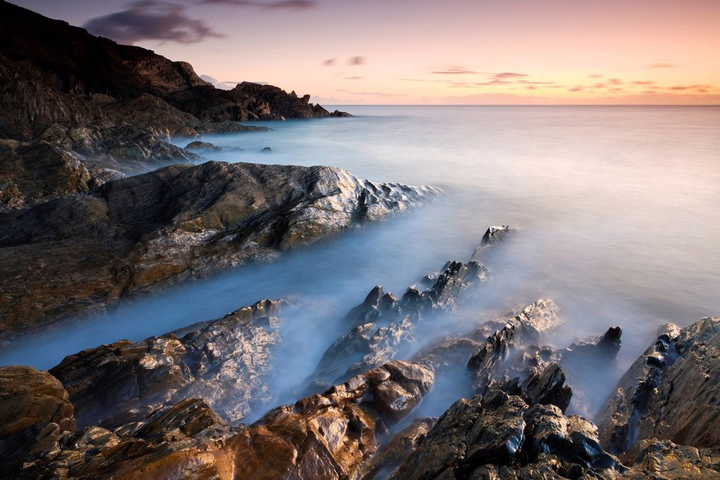 Stock Photo: 1890-138376 Rocky coast at sunset in winter, Leas Foot Sand, Thurlestone, South Hams, Devon, England, United Kingdom, Europe