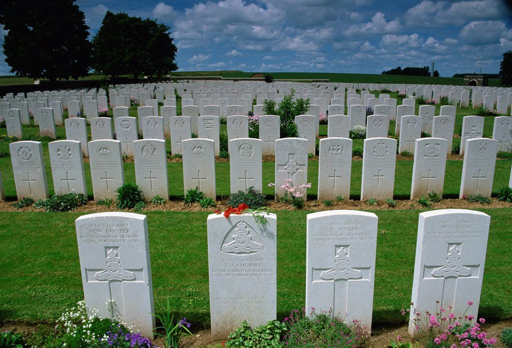 First World War British Cemetery, Valley of the Somme near Mons, Nord_Picardie, France, Europe : Stock Photo