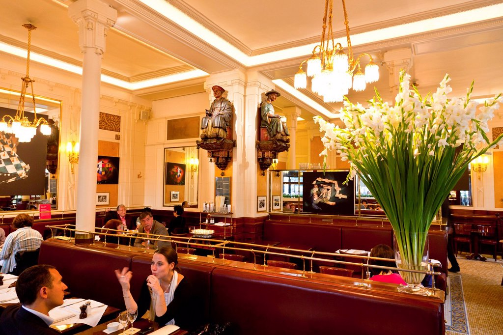 Stock Photo: 1890-138773 Interior of Les Deux Magots Cafe, Saint_Germain_des_Pres, Left Bank, Paris, France, Europe