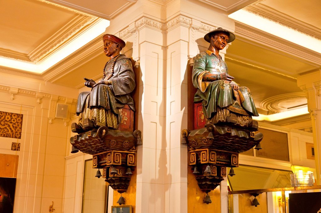 Stock Photo: 1890-138774 The two statues that gave Les Deux Magots Cafe its name, Saint_Germain_des_Pres, Left Bank, Paris, France, Europe