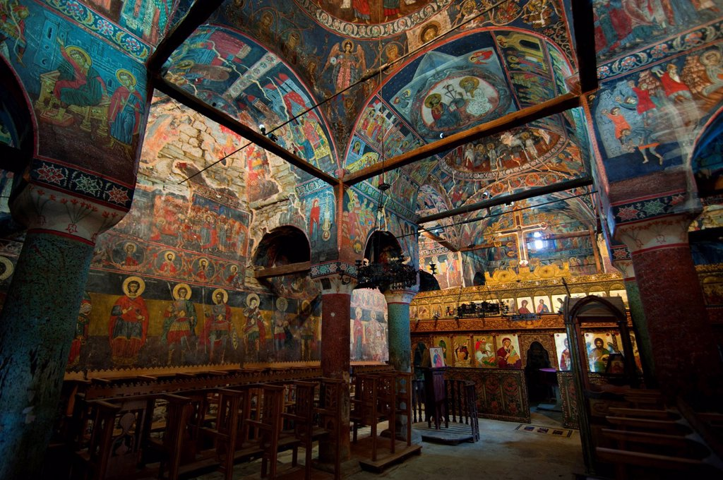 Stock Photo: 1890-139206 Monastery of St. Prodhomos, one of the old Orthodox churches of Voskopoja, Albania, Europe