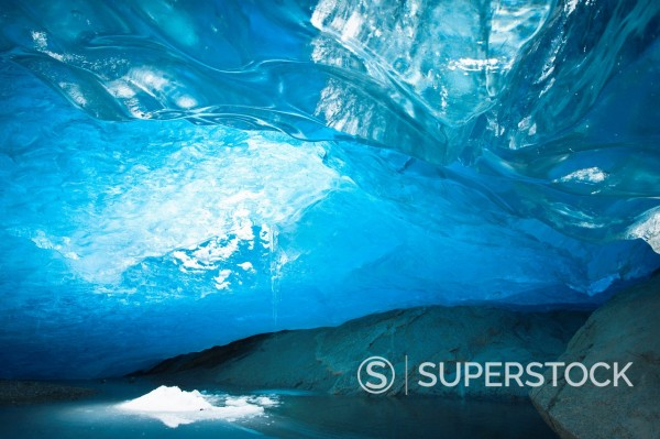 Stock Photo: 1890-139663 Ice cave inside Nigardsbreen Glacier formed during winter months, at Jostedalsbreen, Europe´s largest ice cap, Fjaerland, West Coast Fjords, Norway, Scandinavia, Europe