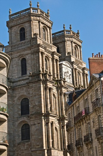 Facade, cathedral St. Pierre,built in 1844, old town, Rennes, Brittany, France, Europe : Stock Photo