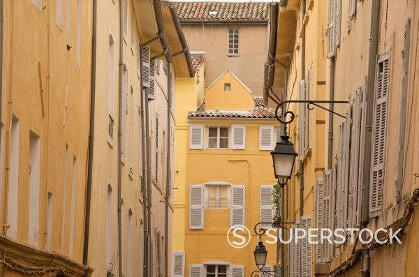 Stock Photo: 1890-139708 Typical houses and street, in the old Aix, Aix en Provence, Provence, France, Europe