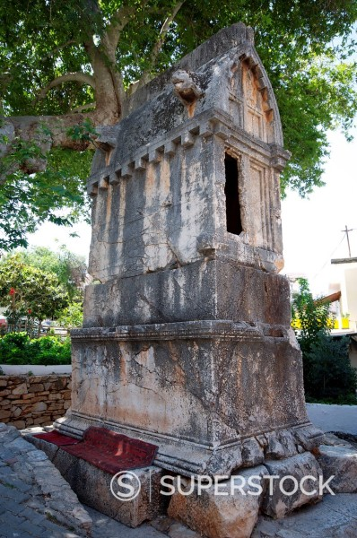 Stock Photo: 1890-140001 The Kings Tomb or Kral Mezari, a Lycian sarcophagus, Kas, Antalya Province, Anatolia, Turkey, Asia Minor, Eurasia