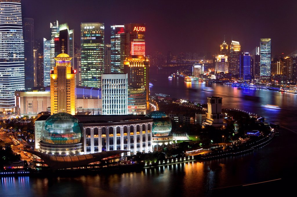 Stock Photo: 1890-140030 New Pudong skyline, looking across the Huangpu River from the Bund, Shanghai, China, Asia