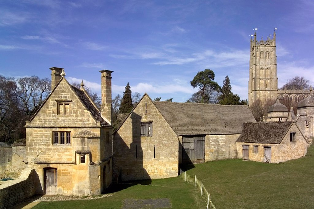 Honey coloured stone buildings, Chipping Campden, The Cotswolds, Gloucestershire, England, United Kingdom, Europe : Stock Photo