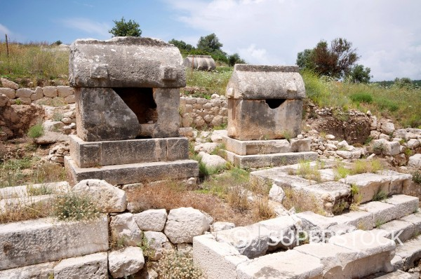 Stock Photo: 1890-140178 Sarcophagus at the Lycian site of Patara, near Kalkan, Antalya Province, Anatolia, Turkey, Asia Minor, Eurasia