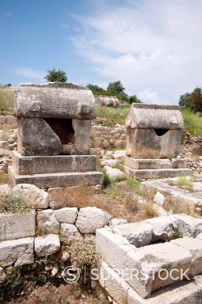 Stock Photo: 1890-140179 Sarcophagus at the Lycian site of Patara, near Kalkan, Antalya Province, Anatolia, Turkey, Asia Minor, Eurasia