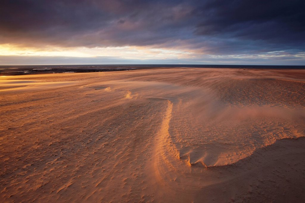 A windy August evening at Brancaster, Norfolk, England, United Kingdom, Europe : Stock Photo