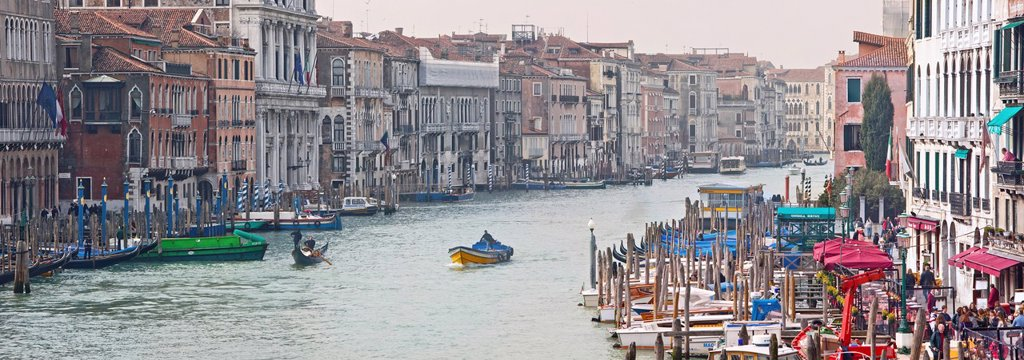 Stock Photo: 1890-140287 Buildings and boat traffic on Grand Canal taken from Ponte di Rialto, Venice, UNESCO World Heritage Site, Veneto, Italy, Europe