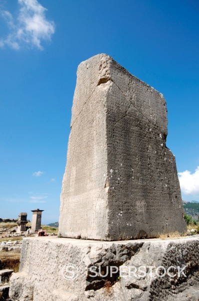 Stock Photo: 1890-140300 The Inscribed Pillar at the Lycian site of Xanthos, UNESCO World Heritage Site, Antalya Province, Anatolia, Turkey, Asia Minor, Eurasia