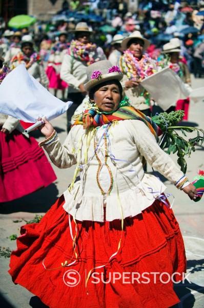 Stock Photo: 1890-140306 Women dancing at Anata Andina harvest festival, Carnival, Oruro, Bolivia, South America