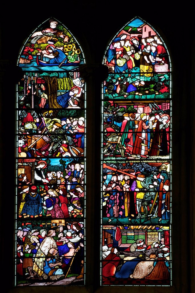 Stock Photo: 1890-140391 Detail of the St. Frideswide Window by Edward Burne_Jones, Christ Church Cathedral, Oxford, Oxfordshire, England, United Kingdom, Europe