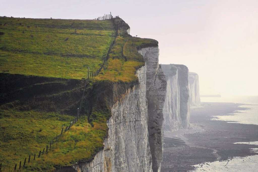 Stock Photo: 1890-14135 Chalk cliffs from clifftop path, Ault, Picardy, France, Europe