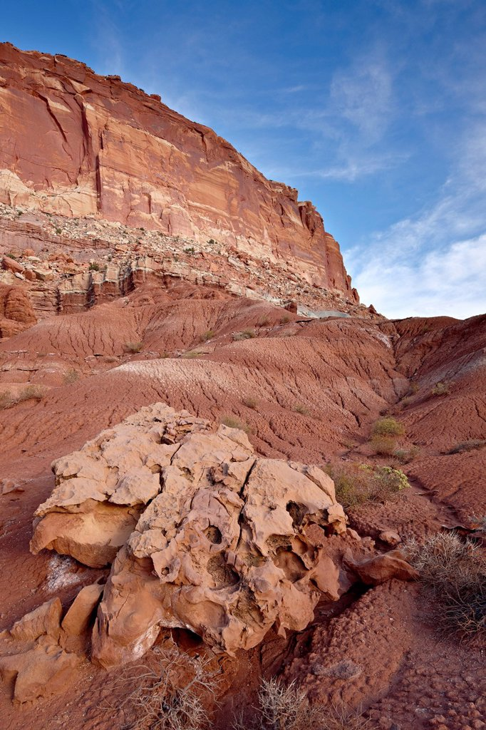 Stock Photo: 1890-141404 Red rock cliffs and badlands, Capitol Reef National Park, Utah, United States of America, North America