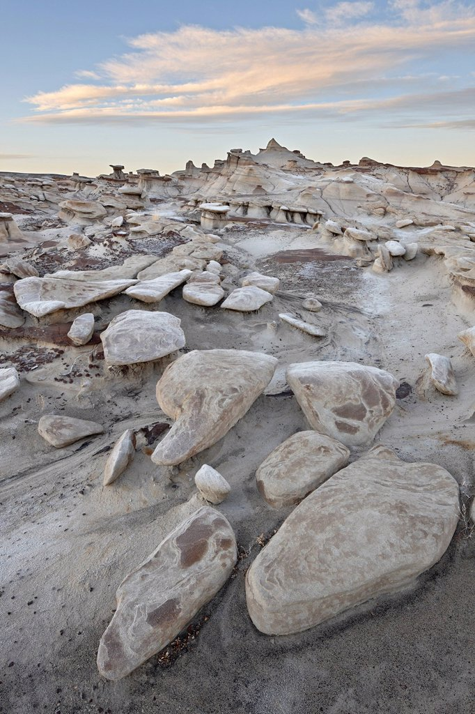 Stock Photo: 1890-141408 Rocks in the badlands at sunrise, Bisti Wilderness, New Mexico, United States of America, North America