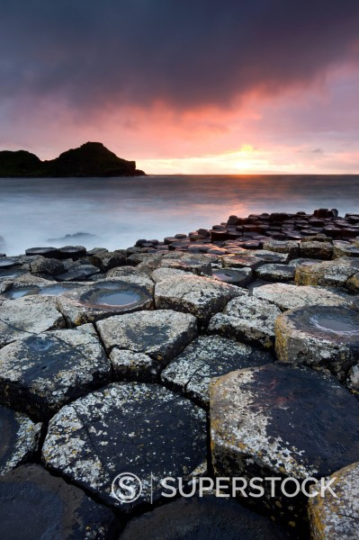 Stock Photo: 1890-141592 Sunset on the Giants Causeway, UNESCO World Heritage Site, County Antrim, Northern Ireland, United Kingdom, Europe