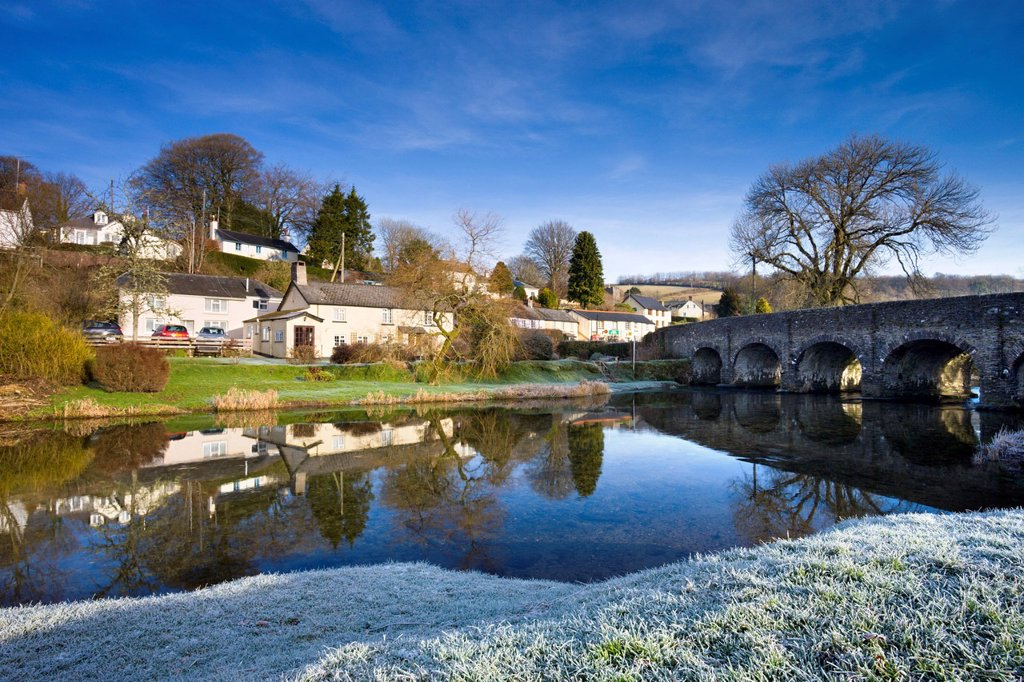 Frost carpets the banks of the River Barle at Withypool in Exmoor National Park, Somerset, England, United Kingdom, Europe : Stock Photo
