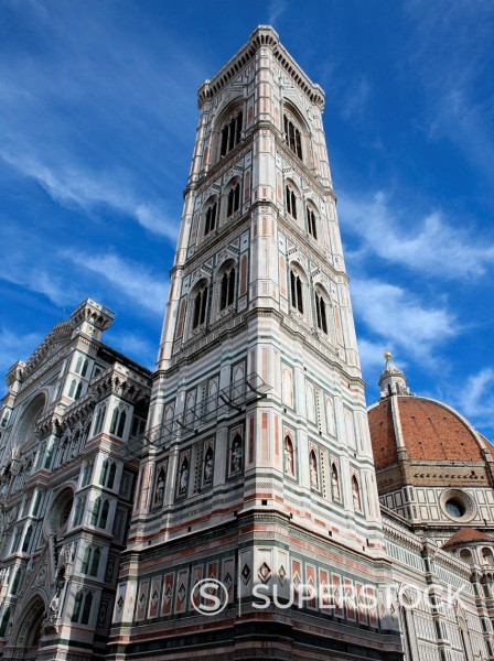 Stock Photo: 1890-141708 Giotto bell tower and Santa Maria del Fiore Cathedral Duomo, Florence, UNESCO World Heritage Site, Tuscany, Italy, Europe