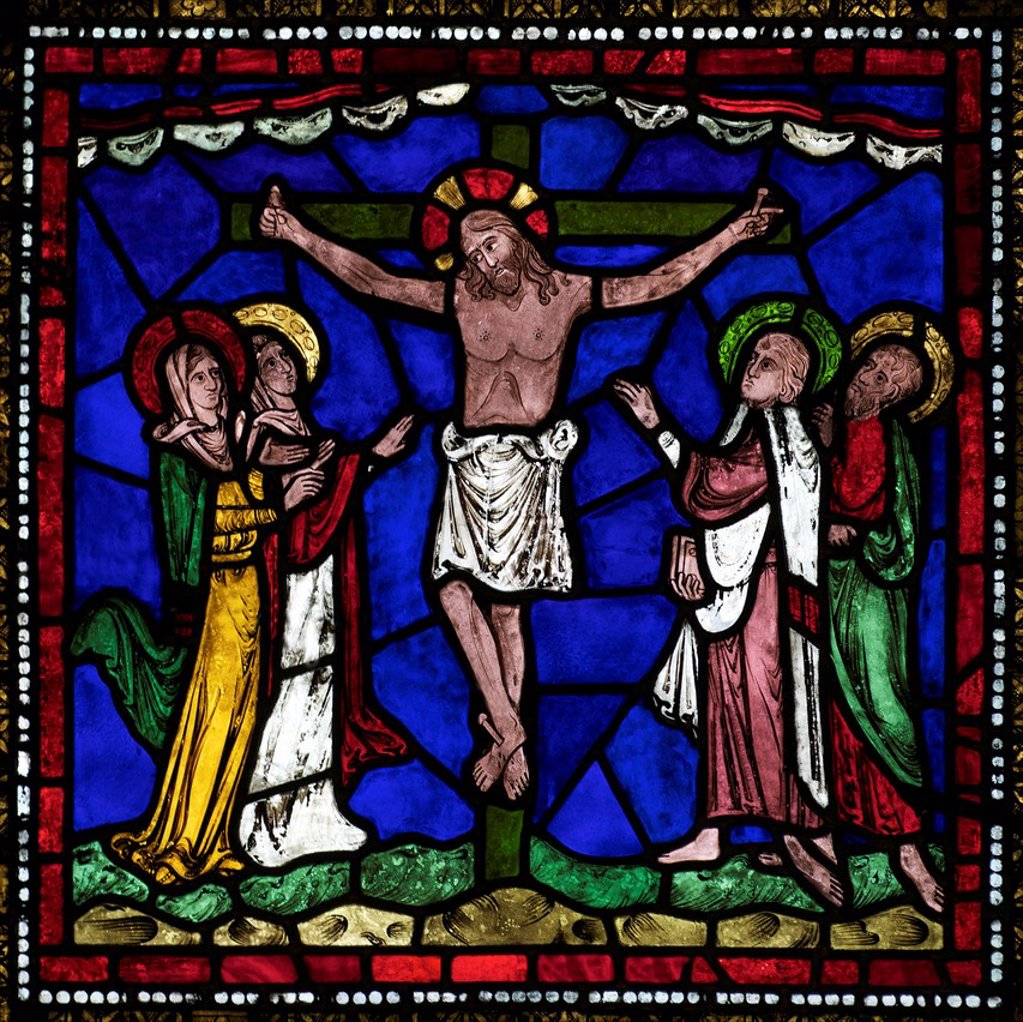 Medieval stained glass of The Crucifixion, Corona Redemption Window, East End, Corona I, Canterbury Cathedral, UNESCO World Heritage Site, Canterbury, Kent, England, United Kingdom, Europe : Stock Photo