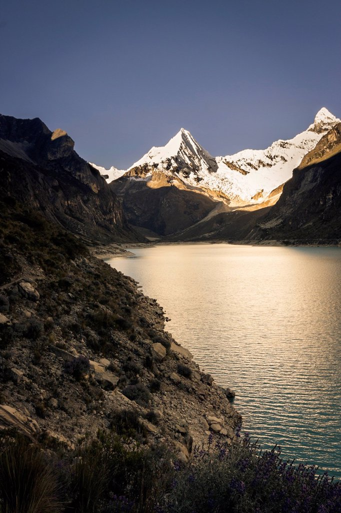 Laguna Paron, high in the Cordillera Blanca Peruvian Andes, Ancash, Peru, South America : Stock Photo