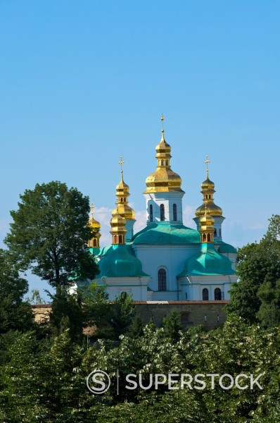 Stock Photo: 1890-142287 Church of the Nativity of the Virgin and Kovnirs Bell Tower, Pechersk Lavra, UNESCO World Heritage Site, Kiev, Ukraine, Europe